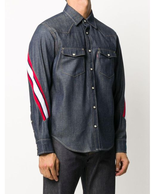 メンズ Facetasm ストライプ デニムシャツ Multicolor