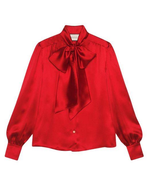 Gucci ネックボウ サテンシャツ Red
