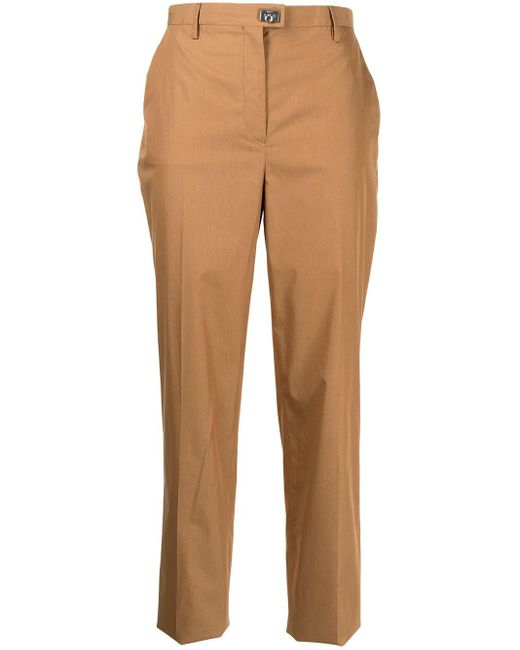 Ferragamo Brown Cropped Straight-leg Trousers