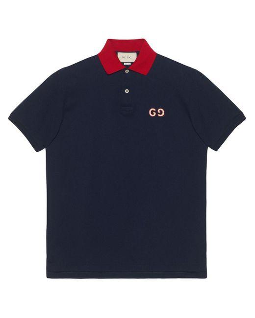 メンズ Gucci 【公式】 (グッチ)GGエンブロイダリー付き ポロシャツネイビー コットンブルー Blue