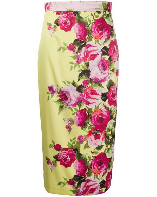 Blumarine フローラル ペンシルスカート Pink