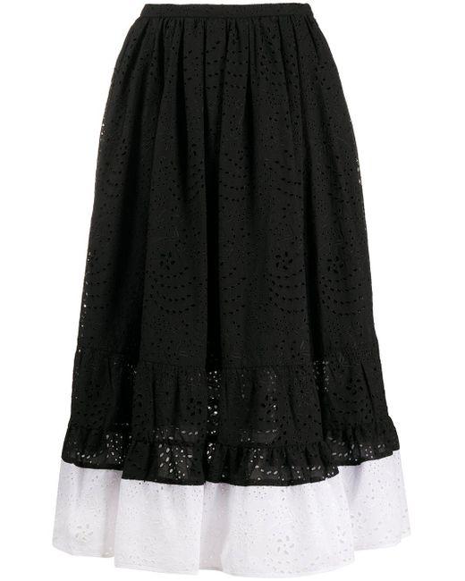 N°21 バイカラーエンブロイダリースカート Black