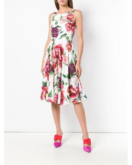76e662efbc6 ... Lyst Dolce   Gabbana - White Sleeveless Peony Print Dress ...