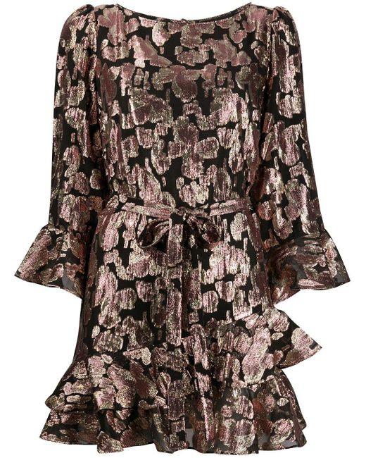 Saloni メタリックプリント ドレス Multicolor