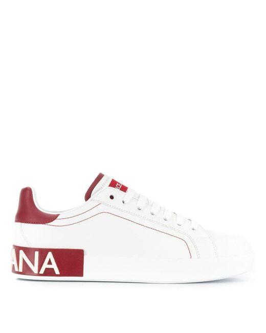 Dolce & Gabbana White Portofino Logo Sneakers