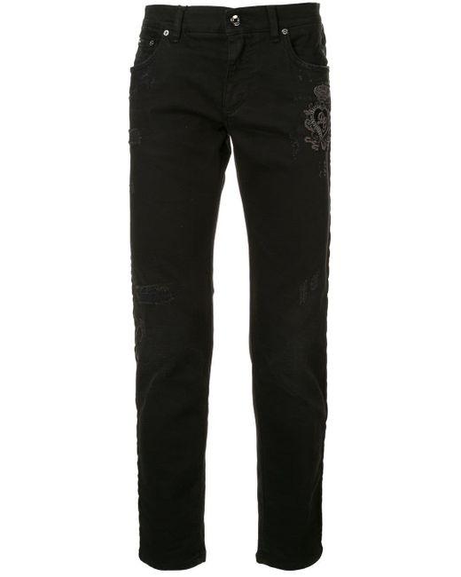 メンズ Dolce & Gabbana ダメージ パッチジーンズ Black