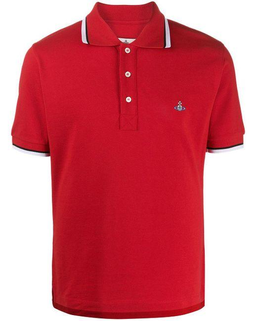 メンズ Vivienne Westwood ストライプトリム ポロシャツ Red