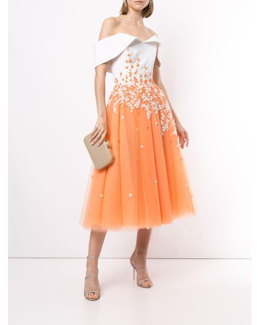 Saiid Kobeisy フレア ドレス Orange