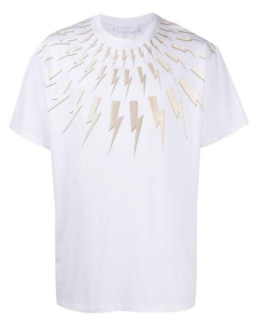 Neil Barrett T-Shirt mit Blitzapplikation in White für Herren