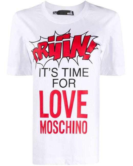 Love Moschino スローガン Tシャツ White