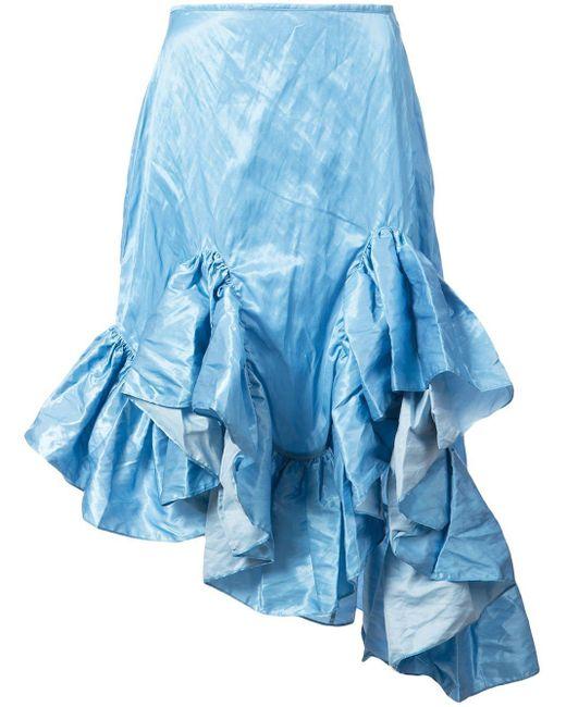 Marques'Almeida ラッフルヘム スカート Blue