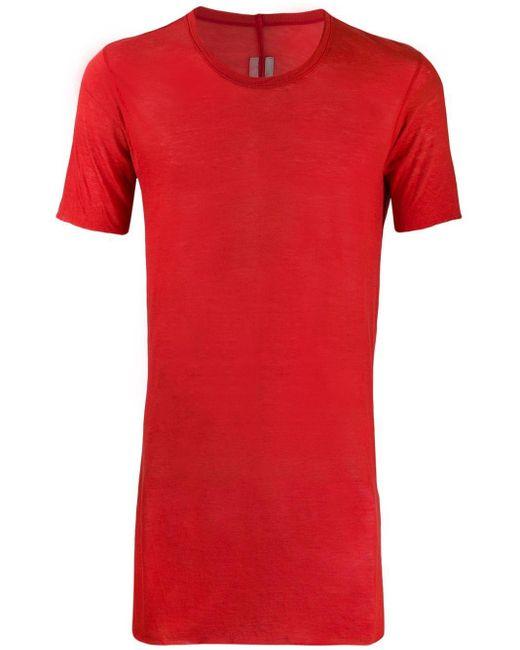 メンズ Rick Owens ロングライン Tシャツ Red
