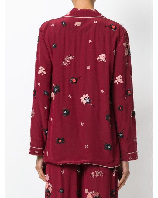 Valentino フローラル パジャマスタイルシャツ Red