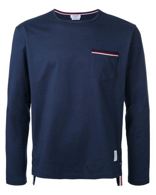 メンズ Thom Browne 長袖tシャツ Blue