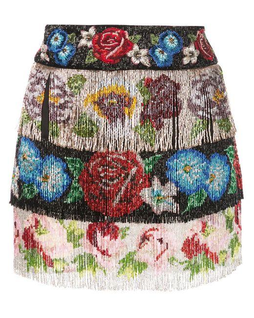 Dolce & Gabbana フリンジ フローラルスカート Multicolor