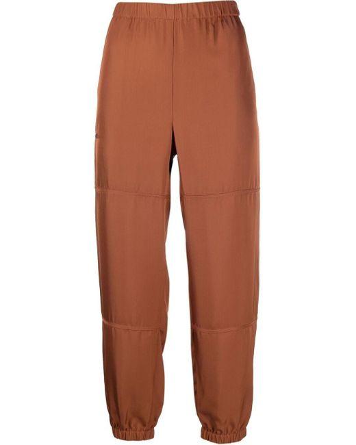 Pantaloni con vita elasticizzata crop di Theory in Brown