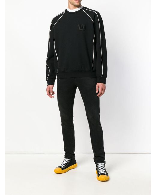 Versace Jeans Black Piped Trim Raglan Sweatshirt for men