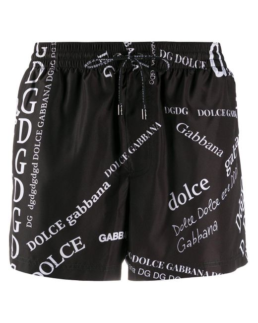 メンズ Dolce & Gabbana ロゴ トランクス水着 Black