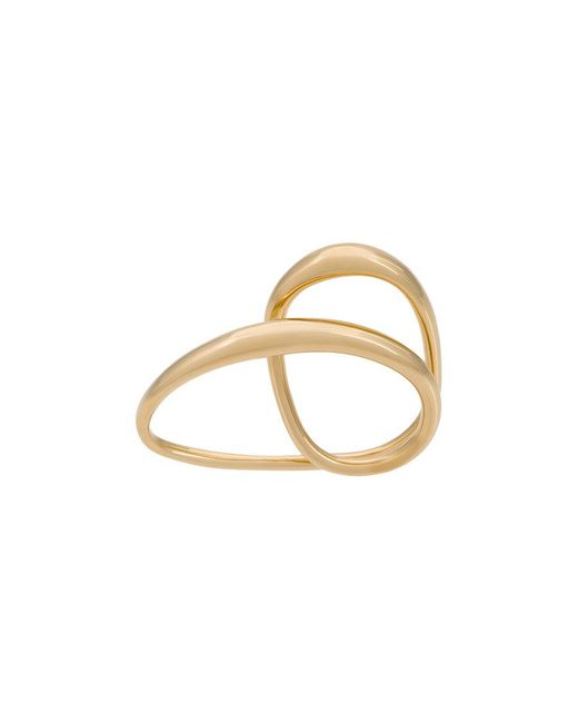 Charlotte Chesnais - Metallic Heart Two-finger Gold-plated Ring - Lyst
