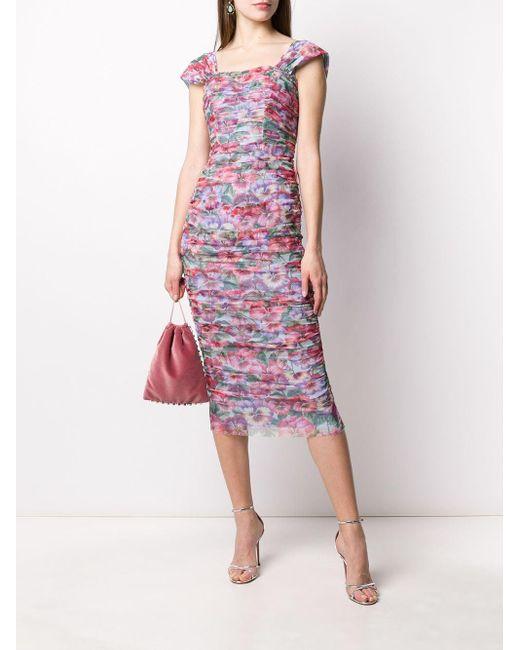 Приталенное Платье С Цветочным Принтом Dolce & Gabbana, цвет: Pink
