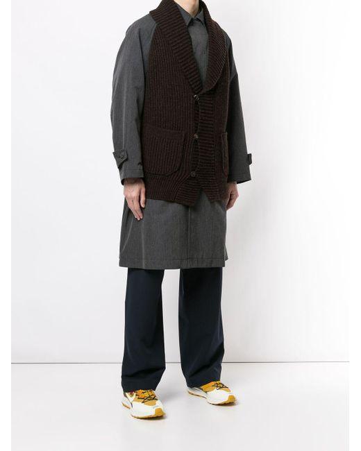 メンズ Kolor レイヤードスタイル コート Black