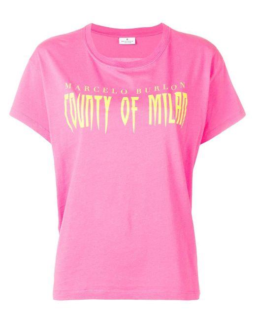 Marcelo Burlon クルーネック Tシャツ Pink