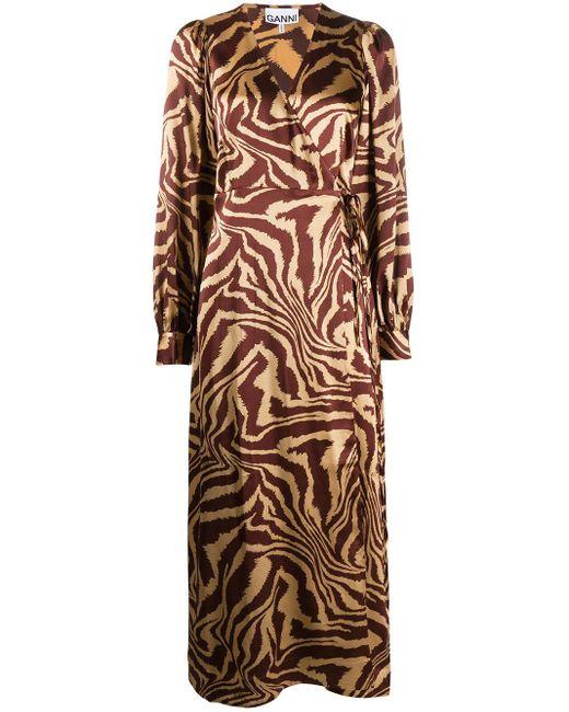 Ganni アニマルプリント ラップドレス Multicolor