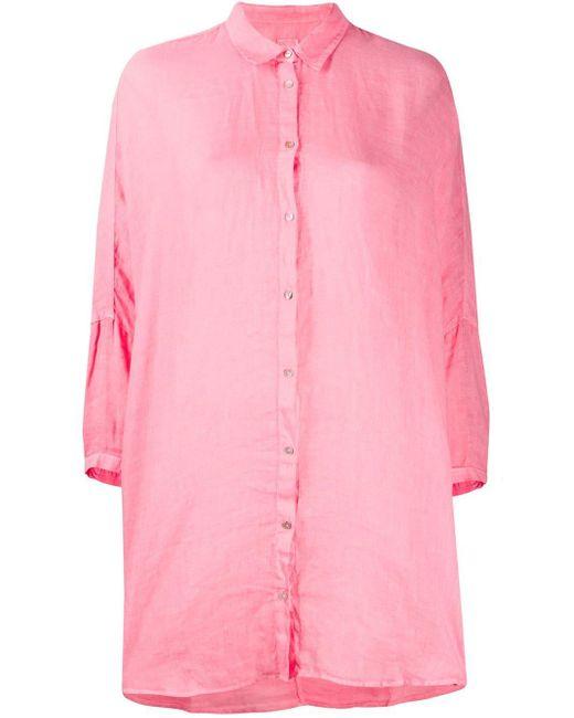 120% Lino Camisa con botones de mujer de color rosa