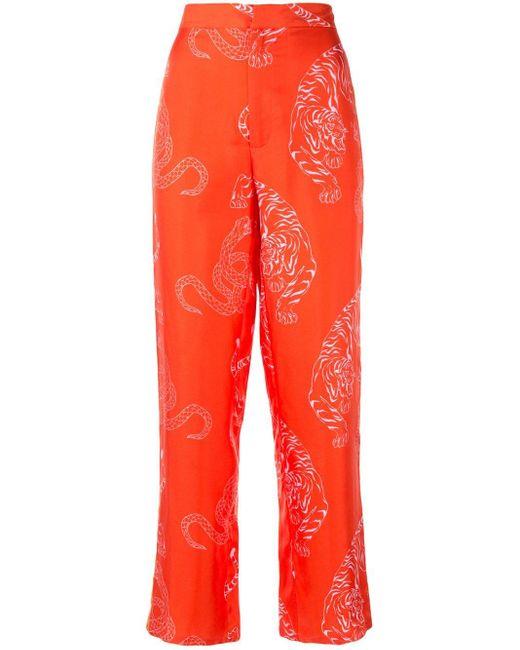 Shanghai Tang タイガー&スネークプリント パジャマパンツ Red