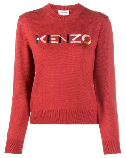 KENZO ロゴ プルオーバー Red