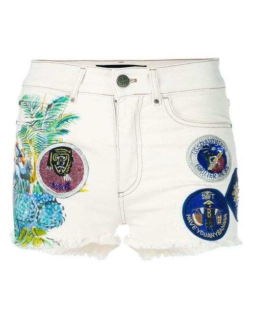 Mr & Mrs Italy White Patched Denim Shorts