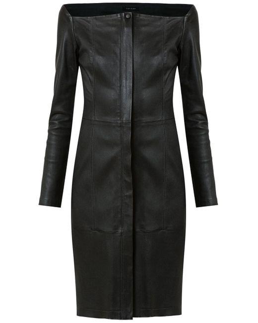 Tufi Duek Leather Short Dress Black