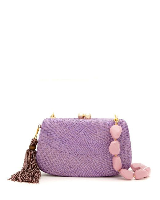 Соломенный Клатч Serpui, цвет: Purple