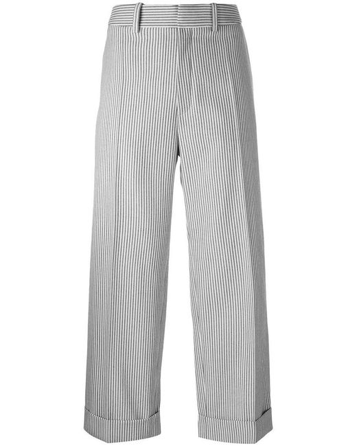 Chloé | Blue Pinstriped Cropped Trousers | Lyst