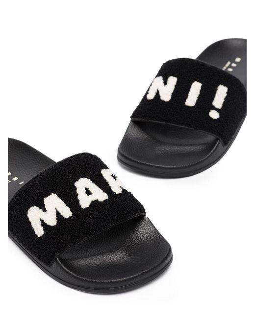 Marni Black Logo Shearling Slides