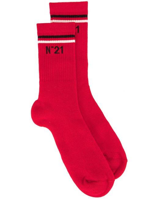 N°21 Socken mit Logo-Print in Red für Herren