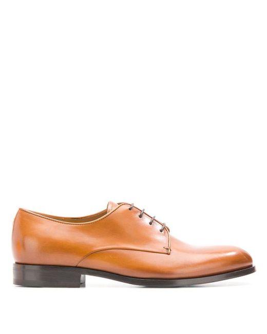 Дерби С Миндалевидным Носком Giorgio Armani для него, цвет: Brown