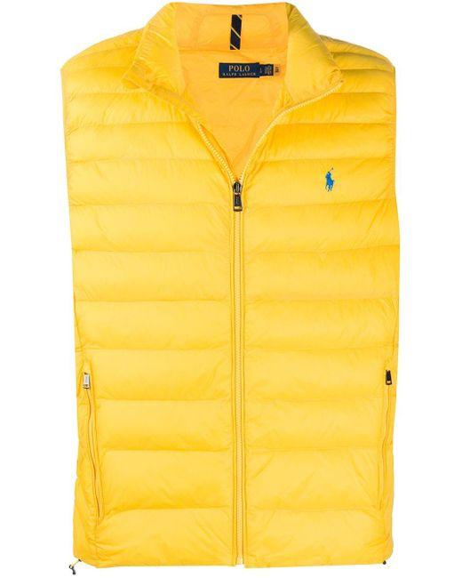 メンズ Polo Ralph Lauren ロゴ パデッドベスト Yellow