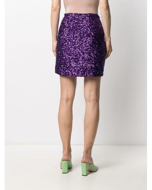 Amen スパンコール ミニスカート Purple