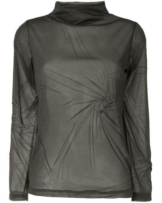 Y's Yohji Yamamoto Green Gathered Detail Long Sleeve Top