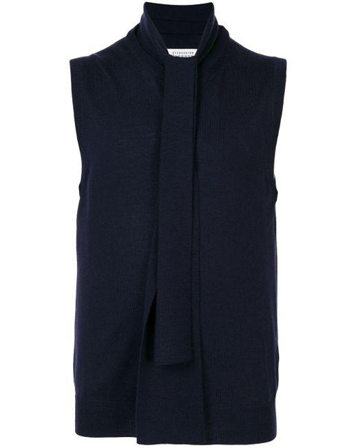 メンズ Maison Margiela スカーフネック トップ Blue