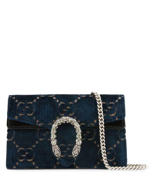 Gucci Blue Dionysus GG Velvet Super Mini Bag