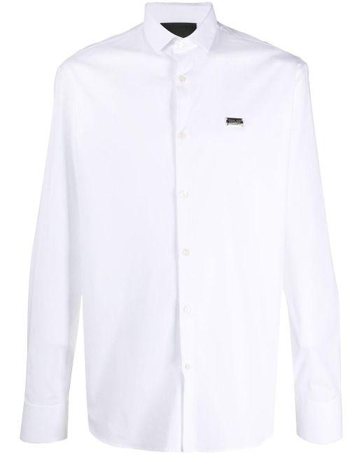 Рубашка С Принтом И Металлическим Логотипом Philipp Plein для него, цвет: White