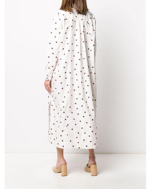 Ganni ポルカドット シャツドレス White