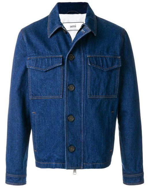 メンズ AMI ジップアップ デニムジャケット Blue
