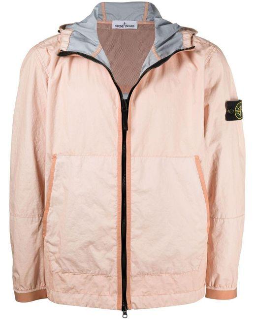 Куртка С Капюшоном И Нашивкой-логотипом Stone Island для него, цвет: Pink