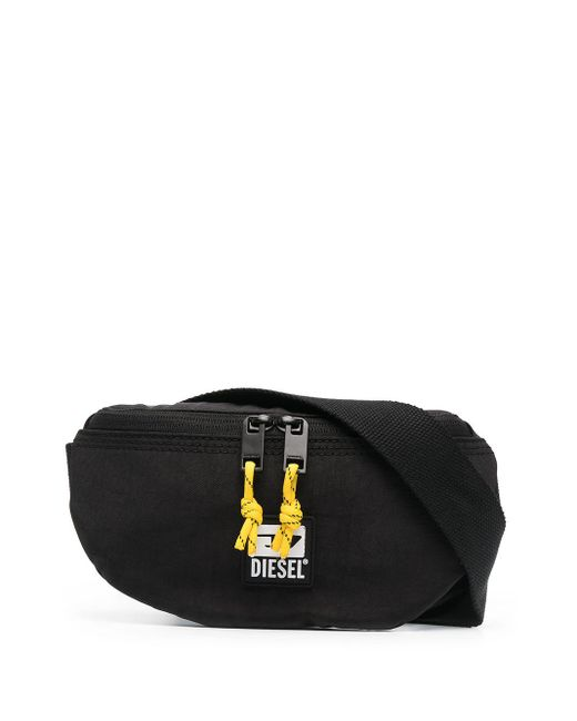 メンズ DIESEL ロゴプレート ベルトバッグ Black