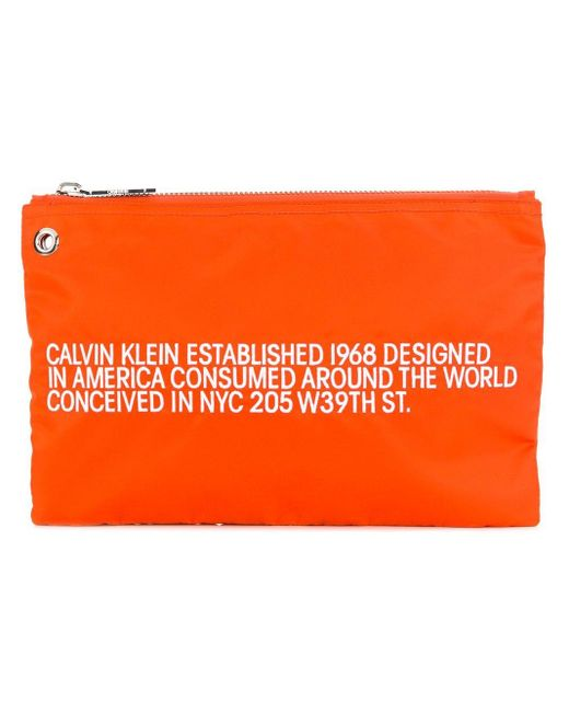 CALVIN KLEIN 205W39NYC ファスナー クラッチバッグ Orange