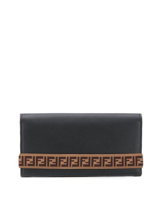 Кошелек С Ремешком И Логотипом Ff Fendi для него, цвет: Black