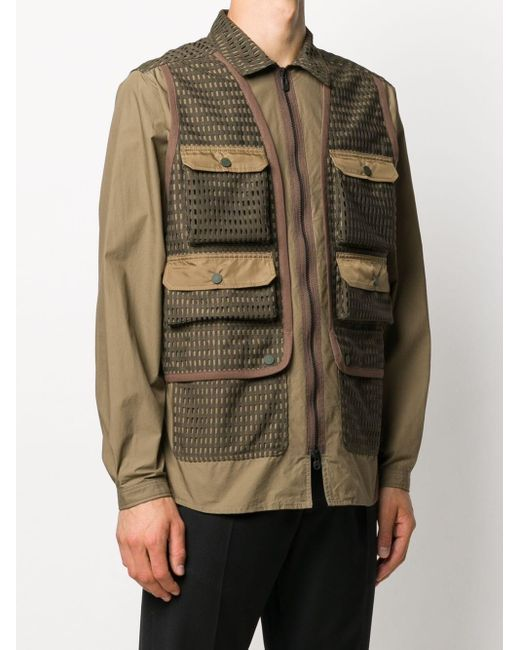 White Mountaineering Green Zipped Single-breasted Coat for men